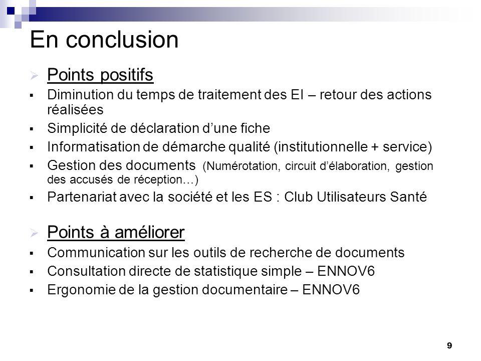 9 En conclusion Points positifs Diminution du temps de traitement des EI – retour des actions réalisées Simplicité de déclaration dune fiche Informati