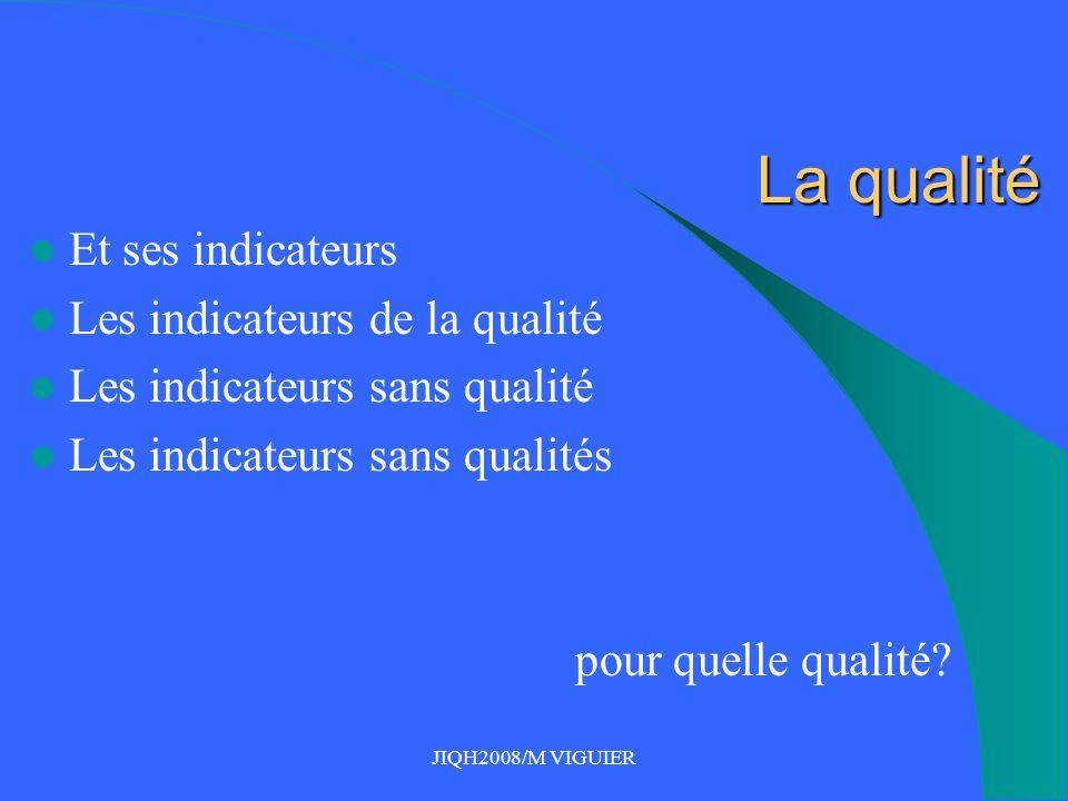 JIQH2008/M VIGUIER La qualité Et ses indicateurs Les indicateurs de la qualité Les indicateurs sans qualité Les indicateurs sans qualités pour quelle qualité