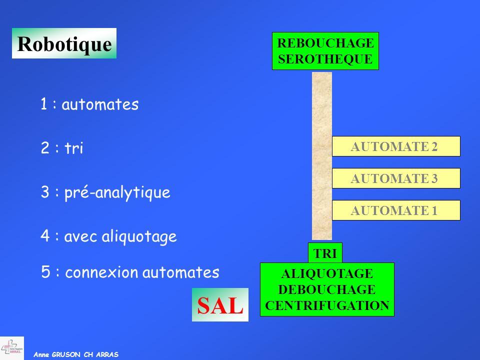 Anne GRUSON CH ARRAS Robotique AUTOMATE 1 AUTOMATE 2 AUTOMATE 3 1 : automates 3 : pré-analytique DEBOUCHAGE CENTRIFUGATION 2 : tri TRI 4 : avec aliquo
