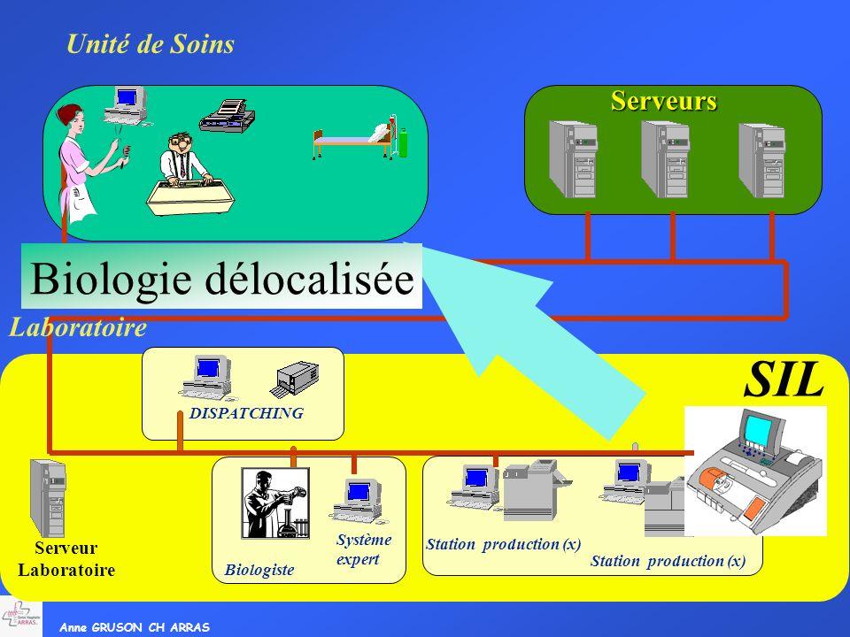 Anne GRUSON CH ARRAS Serveur Laboratoire Système expert Biologiste Station production (x) DISPATCHING SIL Unité de Soins Serveurs Biologie délocalisée