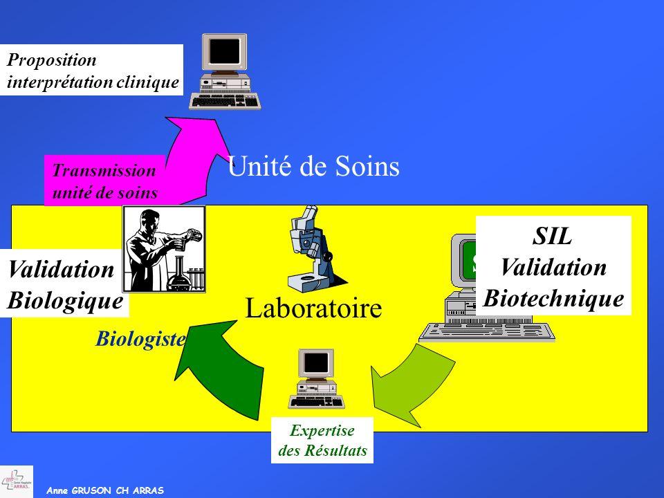 Anne GRUSON CH ARRAS Expertise des Résultats Transmission unité de soins Unité de Soins Laboratoire SIL SC SIL Validation Biotechnique Biologiste Vali