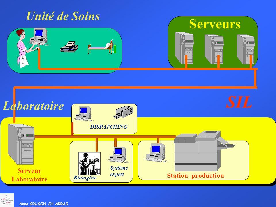 Anne GRUSON CH ARRAS Serveur Laboratoire Système expert Biologiste Station production DISPATCHING SIL Unité de Soins Serveurs Laboratoire