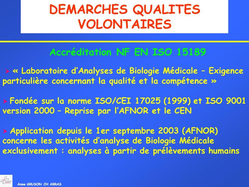 Anne GRUSON CH ARRAS DEMARCHES QUALITES VOLONTAIRES Accréditation NF EN ISO 15189 « Laboratoire dAnalyses de Biologie Médicale – Exigence particulière