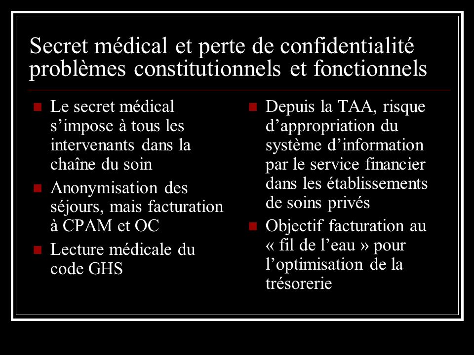 Secret médical et perte de confidentialité problèmes constitutionnels et fonctionnels Le secret médical simpose à tous les intervenants dans la chaîne