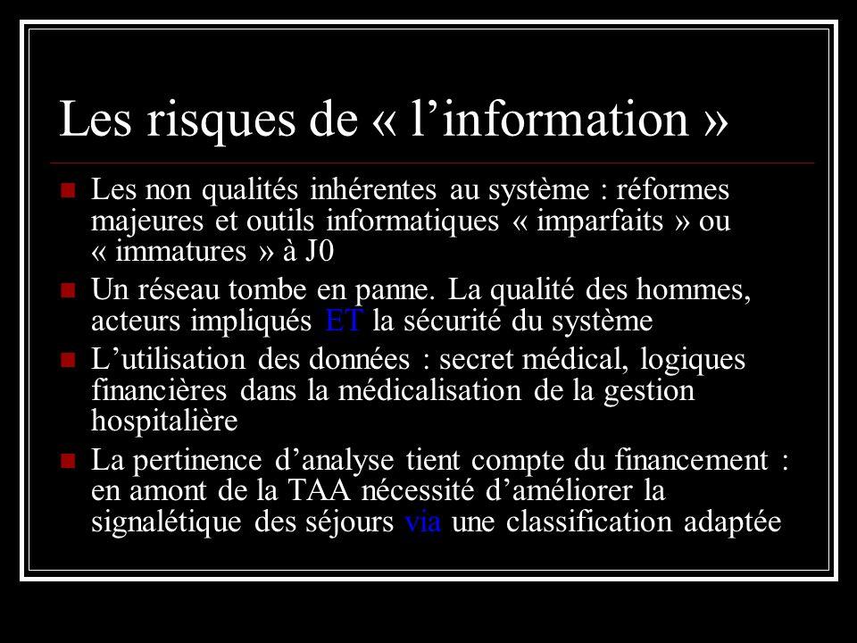 Les risques de « linformation » Les non qualités inhérentes au système : réformes majeures et outils informatiques « imparfaits » ou « immatures » à J