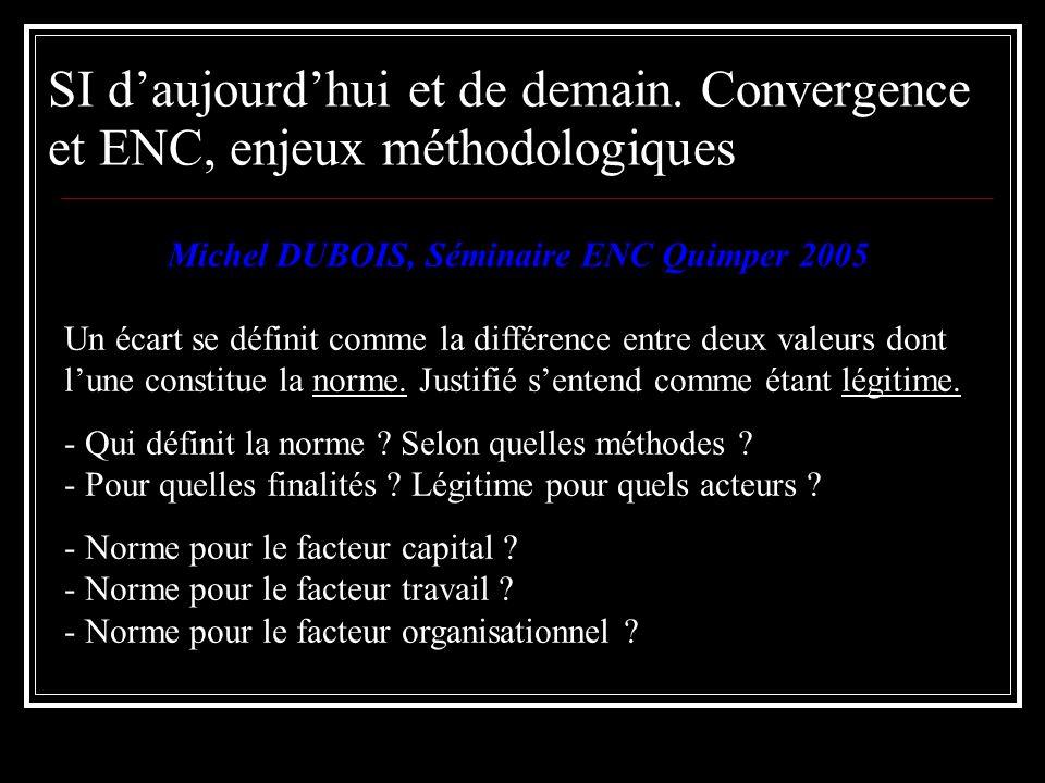 Michel DUBOIS, Séminaire ENC Quimper 2005 Un écart se définit comme la différence entre deux valeurs dont lune constitue la norme. Justifié sentend co