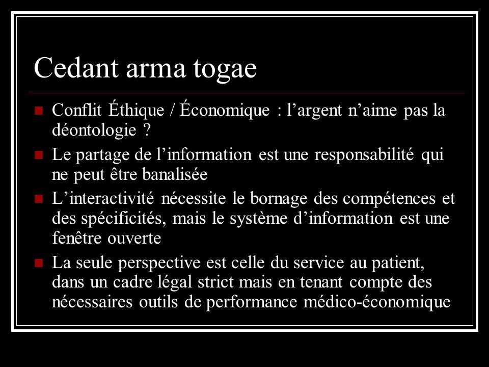 Cedant arma togae Conflit Éthique / Économique : largent naime pas la déontologie ? Le partage de linformation est une responsabilité qui ne peut être