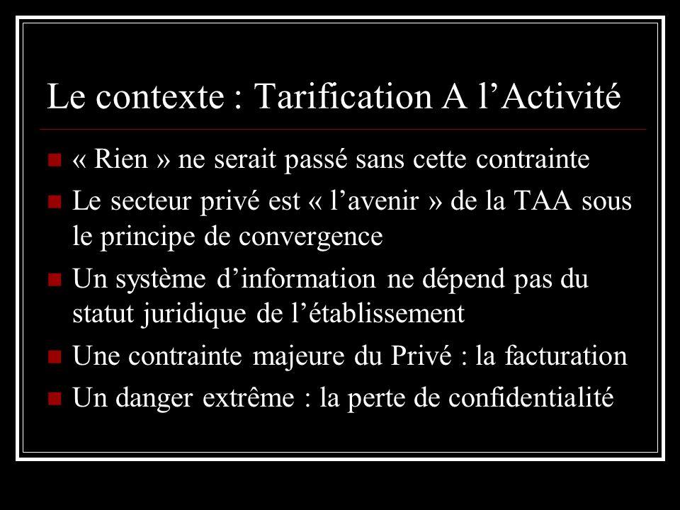 Le contexte : Tarification A lActivité « Rien » ne serait passé sans cette contrainte Le secteur privé est « lavenir » de la TAA sous le principe de c