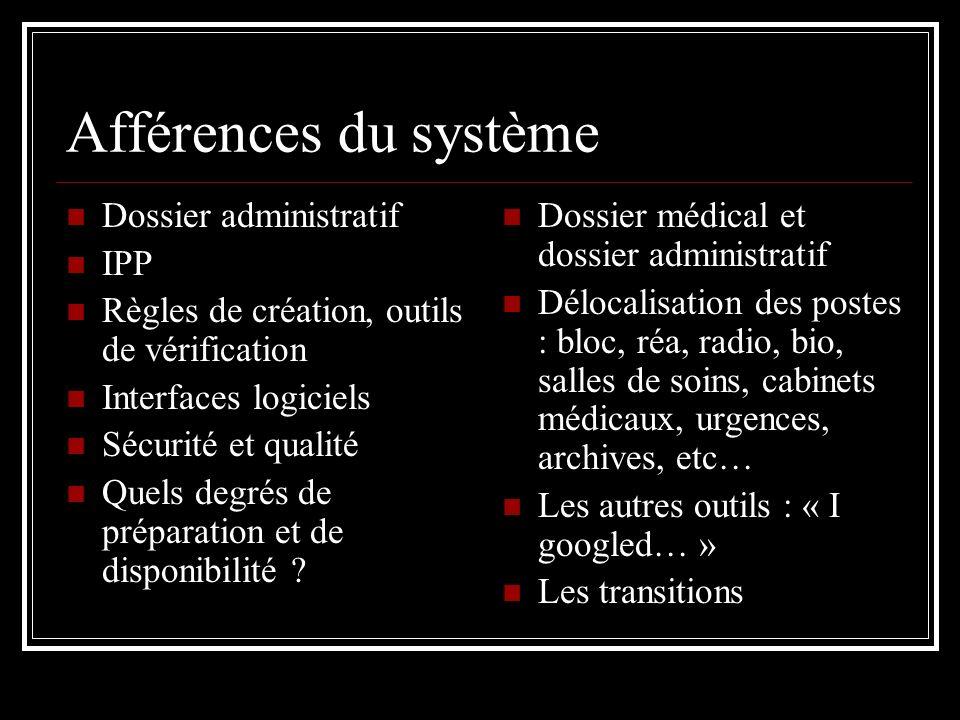 Afférences du système Dossier administratif IPP Règles de création, outils de vérification Interfaces logiciels Sécurité et qualité Quels degrés de pr