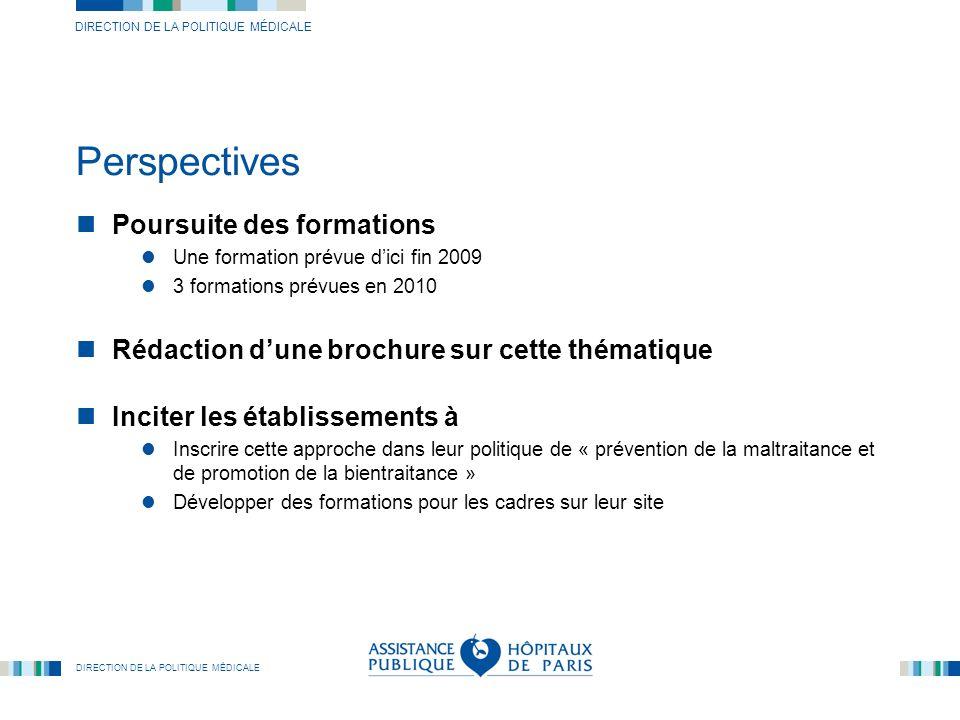 DIRECTION DE LA POLITIQUE MÉDICALE Perspectives Poursuite des formations Une formation prévue dici fin 2009 3 formations prévues en 2010 Rédaction dun