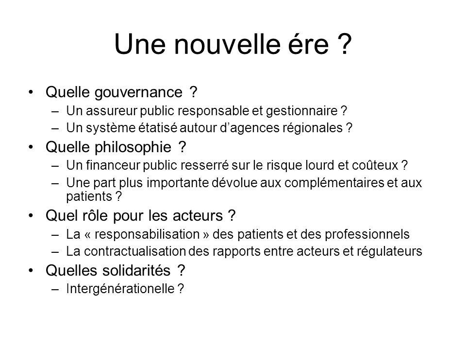 Une nouvelle ére ? Quelle gouvernance ? –Un assureur public responsable et gestionnaire ? –Un système étatisé autour dagences régionales ? Quelle phil