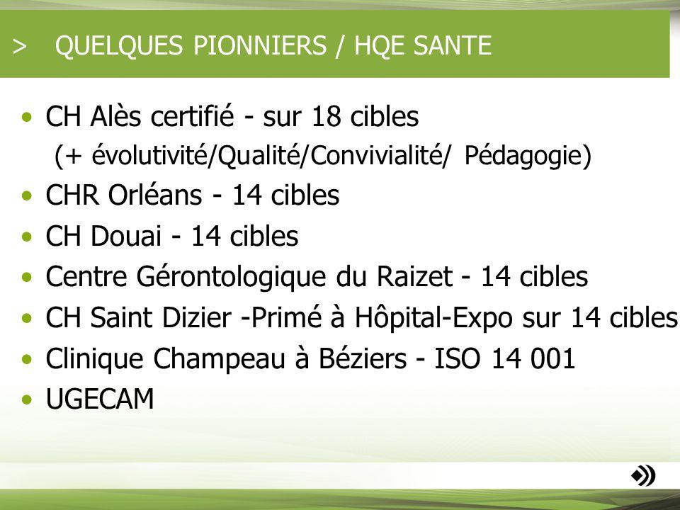 QUELQUES PIONNIERS / HQE SANTE CH Alès certifié - sur 18 cibles (+ évolutivité/Qualité/Convivialité/ Pédagogie) CHR Orléans - 14 cibles CH Douai - 14