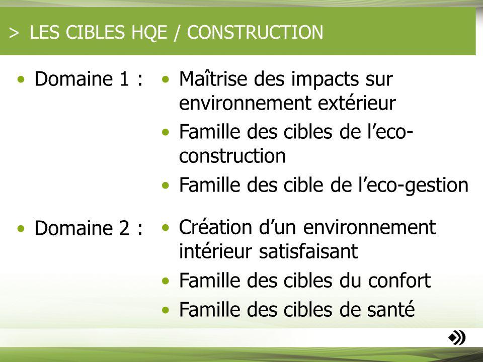 LES CIBLES HQE / CONSTRUCTION Domaine 1 : Domaine 2 : Maîtrise des impacts sur environnement extérieur Famille des cibles de leco- construction Famill