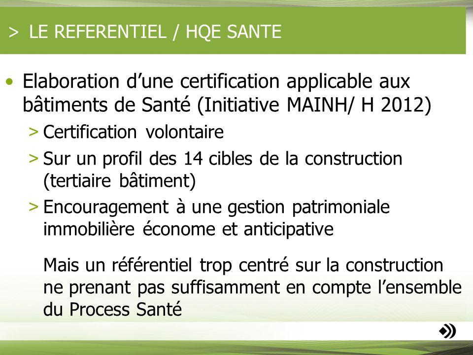LE REFERENTIEL / HQE SANTE Elaboration dune certification applicable aux bâtiments de Santé (Initiative MAINH/ H 2012) > Certification volontaire > Su