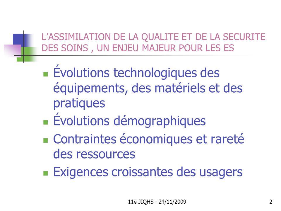 11è JIQHS - 24/11/200913 Participation souhaitée des cadres dans la dynamique qualité des pôles LES CADRES CLINIQUES, MÉDICO-TECHNIQUES, ADMINISTRATIFS, TECHNIQUES ET LOGISTIQUES Participent à lidentification des objectifs qualité en cohérence avec les priorités du programme de létablissement.