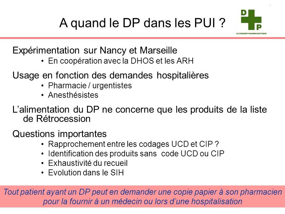 A quand le DP dans les PUI ? Expérimentation sur Nancy et Marseille En coopération avec la DHOS et les ARH Usage en fonction des demandes hospitalière