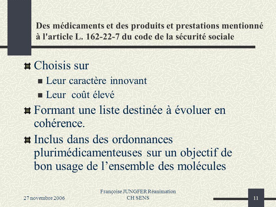27 novembre 2006 Françoise JUNGFER Réanimation CH SENS11 Des médicaments et des produits et prestations mentionné à l article L.