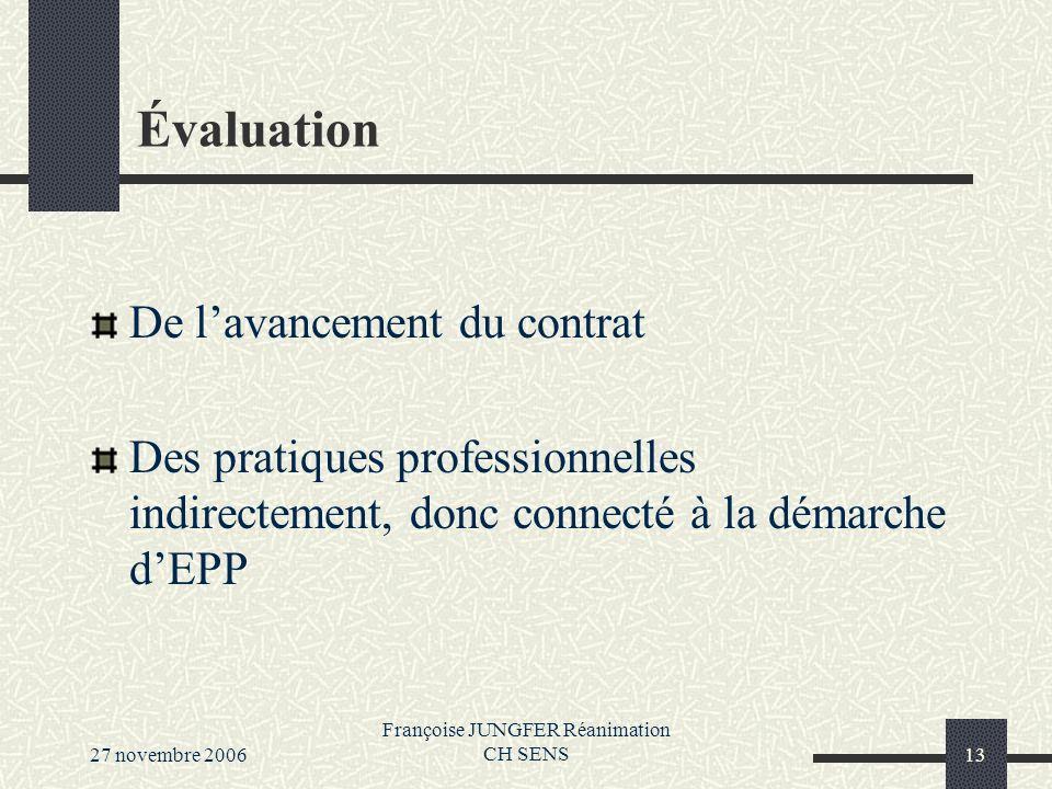 27 novembre 2006 Françoise JUNGFER Réanimation CH SENS13 Évaluation De lavancement du contrat Des pratiques professionnelles indirectement, donc connecté à la démarche dEPP