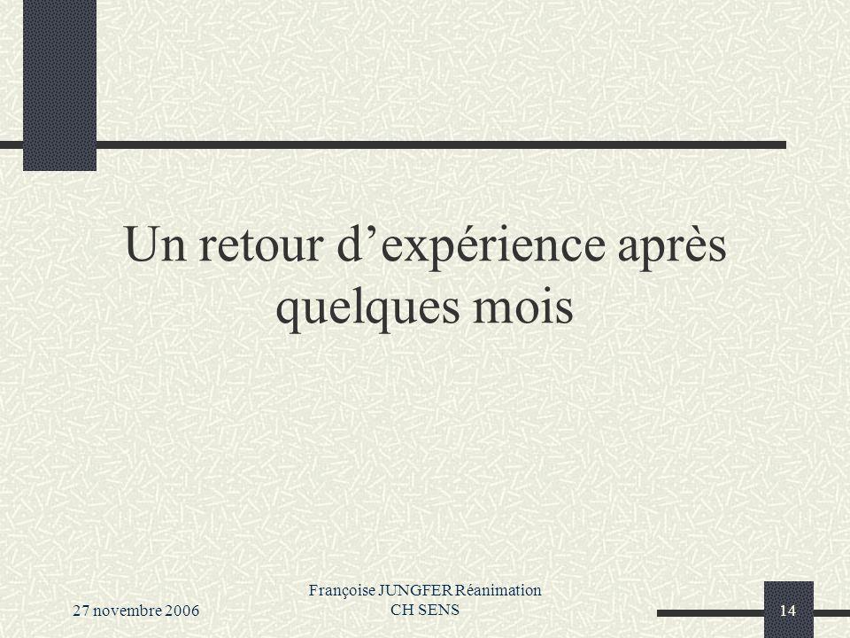 27 novembre 2006 Françoise JUNGFER Réanimation CH SENS14 Un retour dexpérience après quelques mois