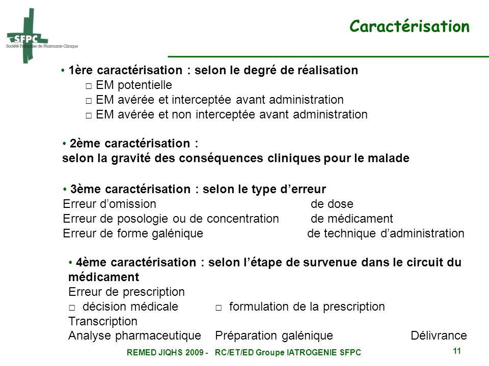 REMED JIQHS 2009 - RC/ET/ED Groupe IATROGENIE SFPC 11 Caractérisation 1ère caractérisation : selon le degré de réalisation EM potentielle EM avérée et