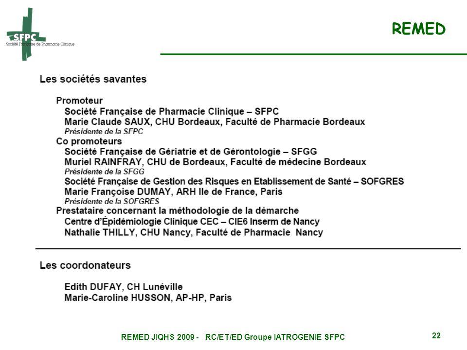 REMED JIQHS 2009 - RC/ET/ED Groupe IATROGENIE SFPC 22 REMED