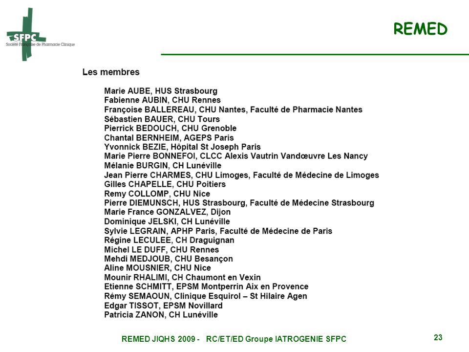 REMED JIQHS 2009 - RC/ET/ED Groupe IATROGENIE SFPC 23 REMED