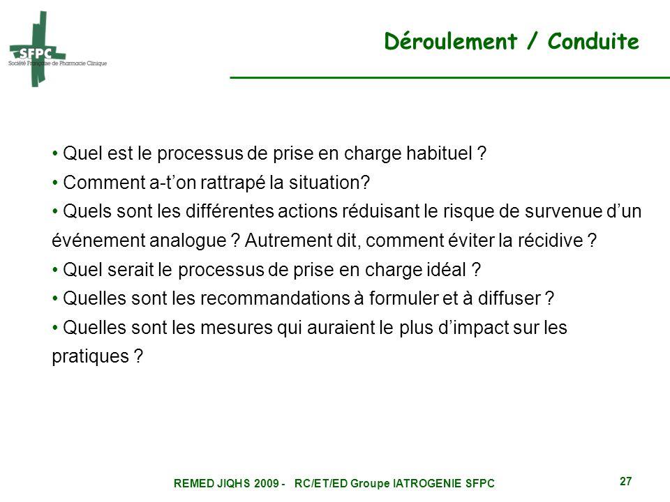 REMED JIQHS 2009 - RC/ET/ED Groupe IATROGENIE SFPC 27 Quel est le processus de prise en charge habituel ? Comment a-ton rattrapé la situation? Quels s