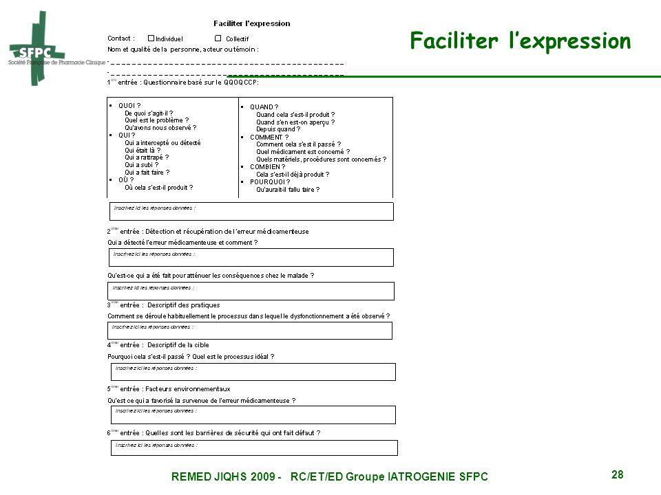 REMED JIQHS 2009 - RC/ET/ED Groupe IATROGENIE SFPC 28 Faciliter lexpression