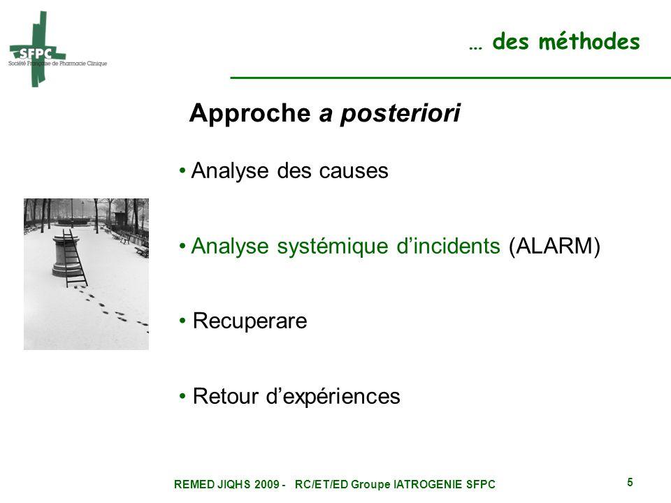 REMED JIQHS 2009 - RC/ET/ED Groupe IATROGENIE SFPC 5 … des méthodes Approche a posteriori Analyse des causes Analyse systémique dincidents (ALARM) Rec