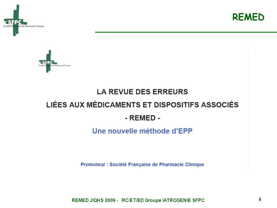 REMED JIQHS 2009 - RC/ET/ED Groupe IATROGENIE SFPC 7 Evénement iatrogène médicamenteux » (EIM) : Tout dommage résultant de lutilisation dun médicament ou de lintervention dun professionnel de santé relative à un médicament.