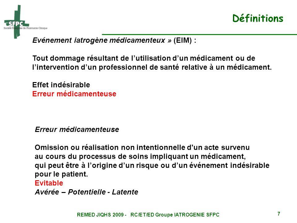 REMED JIQHS 2009 - RC/ET/ED Groupe IATROGENIE SFPC 7 Evénement iatrogène médicamenteux » (EIM) : Tout dommage résultant de lutilisation dun médicament