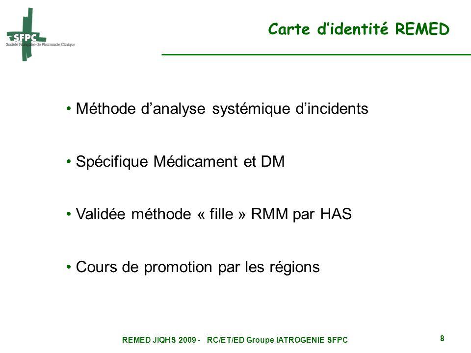 REMED JIQHS 2009 - RC/ET/ED Groupe IATROGENIE SFPC 8 Méthode danalyse systémique dincidents Spécifique Médicament et DM Validée méthode « fille » RMM