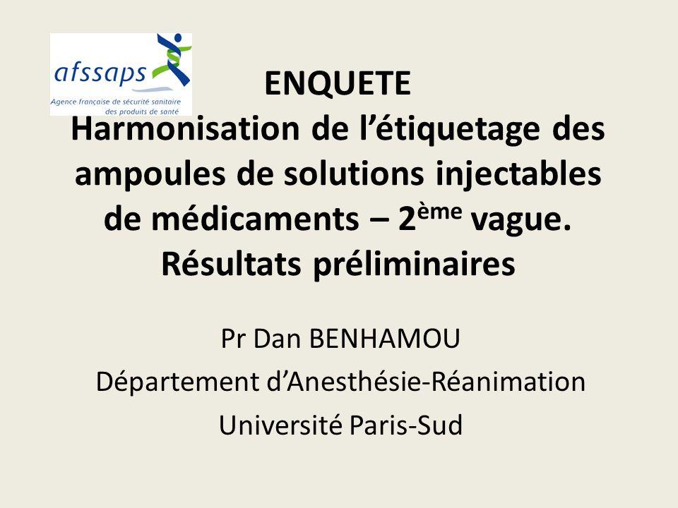 ENQUETE Harmonisation de létiquetage des ampoules de solutions injectables de médicaments – 2 ème vague. Résultats préliminaires Pr Dan BENHAMOU Dépar