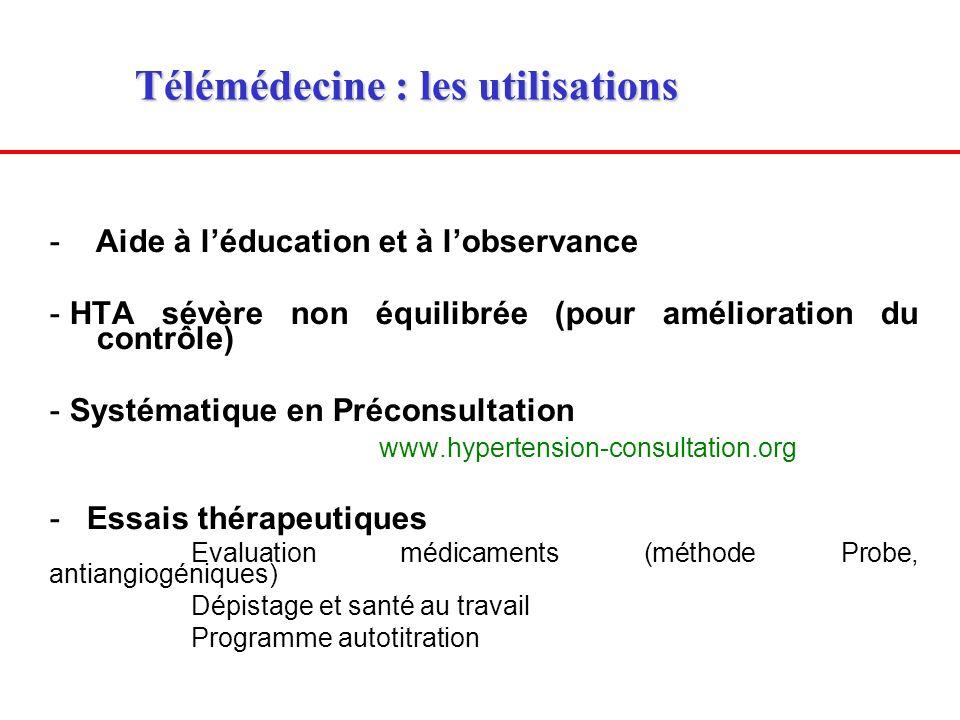 Télémédecine : les utilisations Télémédecine : les utilisations - Aide à léducation et à lobservance - HTA sévère non équilibrée (pour amélioration du