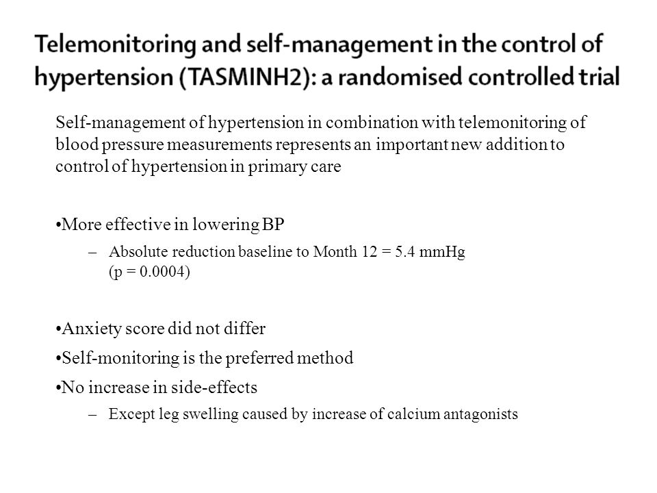 Self-management of hypertension in combination with telemonitoring of blood pressure measurements represents an important new addition to control of h