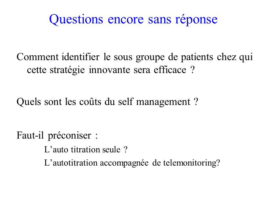 Questions encore sans réponse Comment identifier le sous groupe de patients chez qui cette stratégie innovante sera efficace ? Quels sont les coûts du