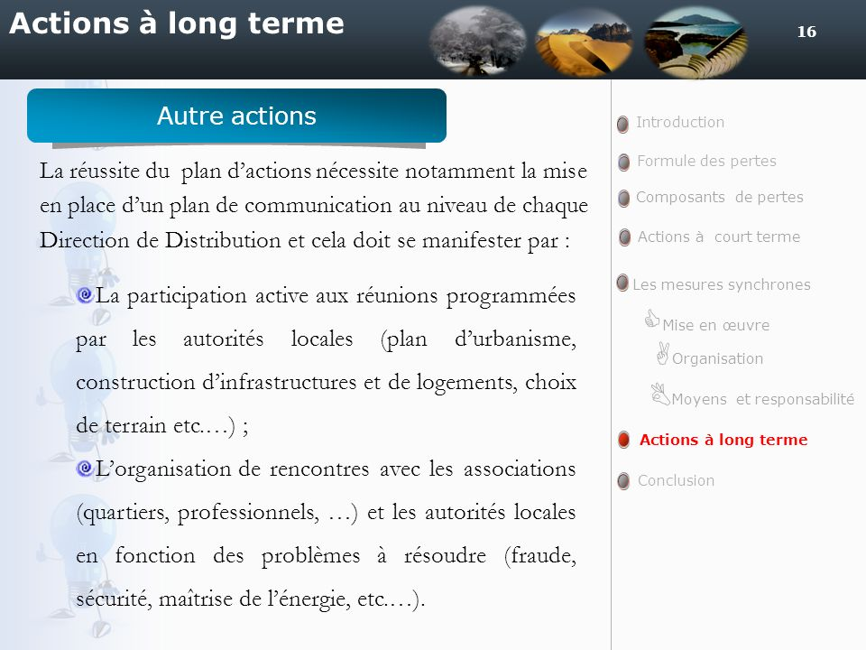 16 Actions à long terme Introduction Formule des pertes Actions à court terme Actions à long terme Conclusion Composants de pertes Les mesures synchro
