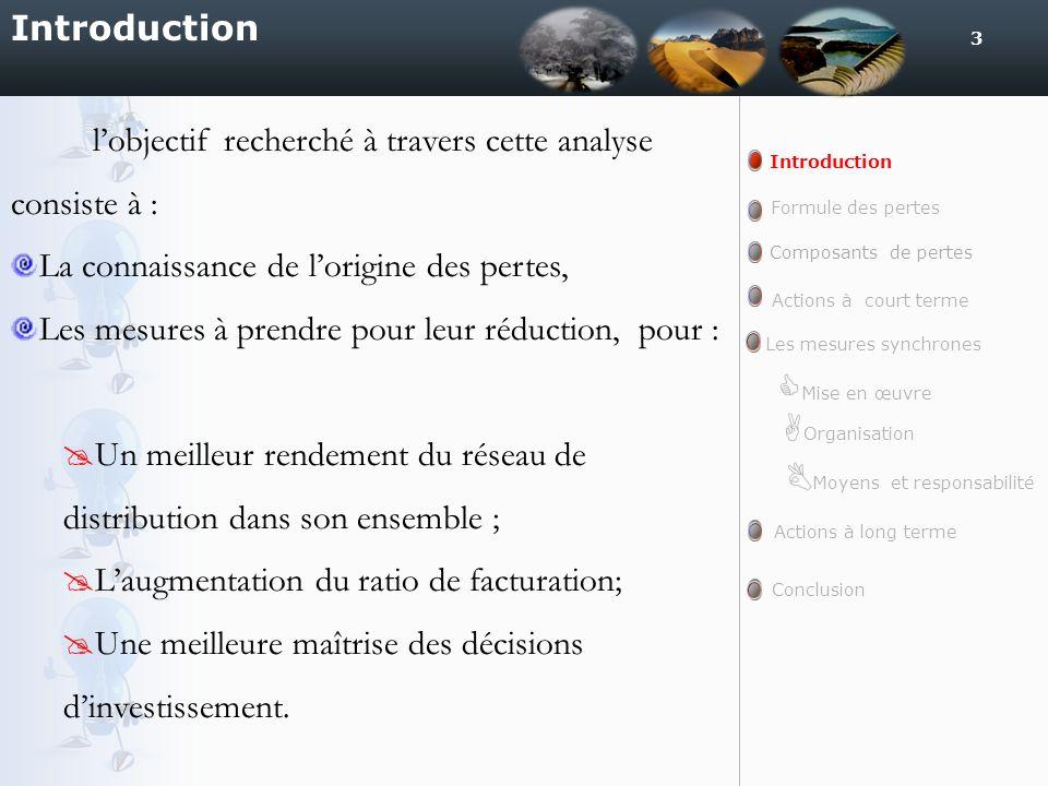 3 Introduction lobjectif recherché à travers cette analyse consiste à : La connaissance de lorigine des pertes, Les mesures à prendre pour leur réduct