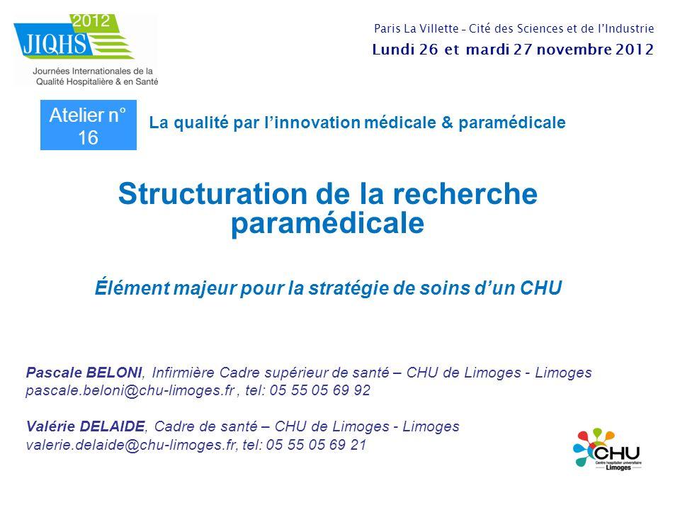 Structuration de la recherche paramédicale Élément majeur pour la stratégie de soins dun CHU Pascale BELONI, Infirmière Cadre supérieur de santé – CHU