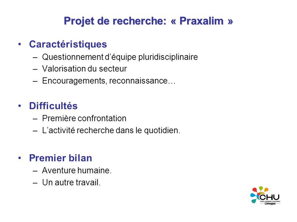 Projet de recherche: « Praxalim » Caractéristiques –Questionnement déquipe pluridisciplinaire –Valorisation du secteur –Encouragements, reconnaissance