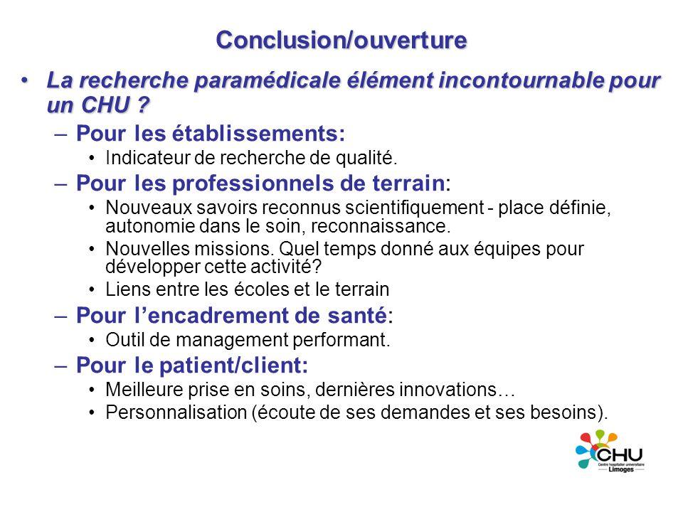 Conclusion/ouverture La recherche paramédicale élément incontournable pour un CHU ?La recherche paramédicale élément incontournable pour un CHU ? –Pou