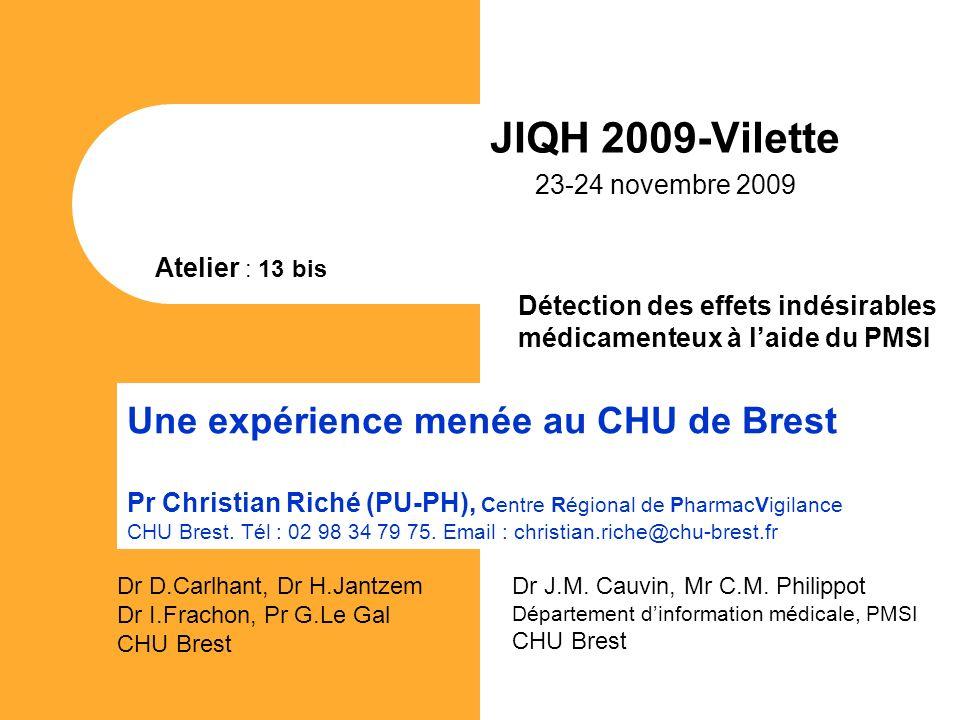 JIQH 2009-Vilette 23-24 novembre 2009 Une expérience menée au CHU de Brest Pr Christian Riché (PU-PH), Centre Régional de PharmacVigilance CHU Brest.