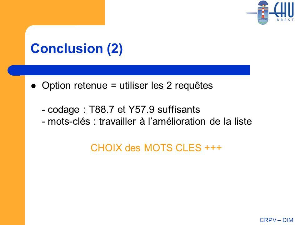 CRPV – DIM Conclusion (2) Option retenue = utiliser les 2 requêtes - codage : T88.7 et Y57.9 suffisants - mots-clés : travailler à lamélioration de la