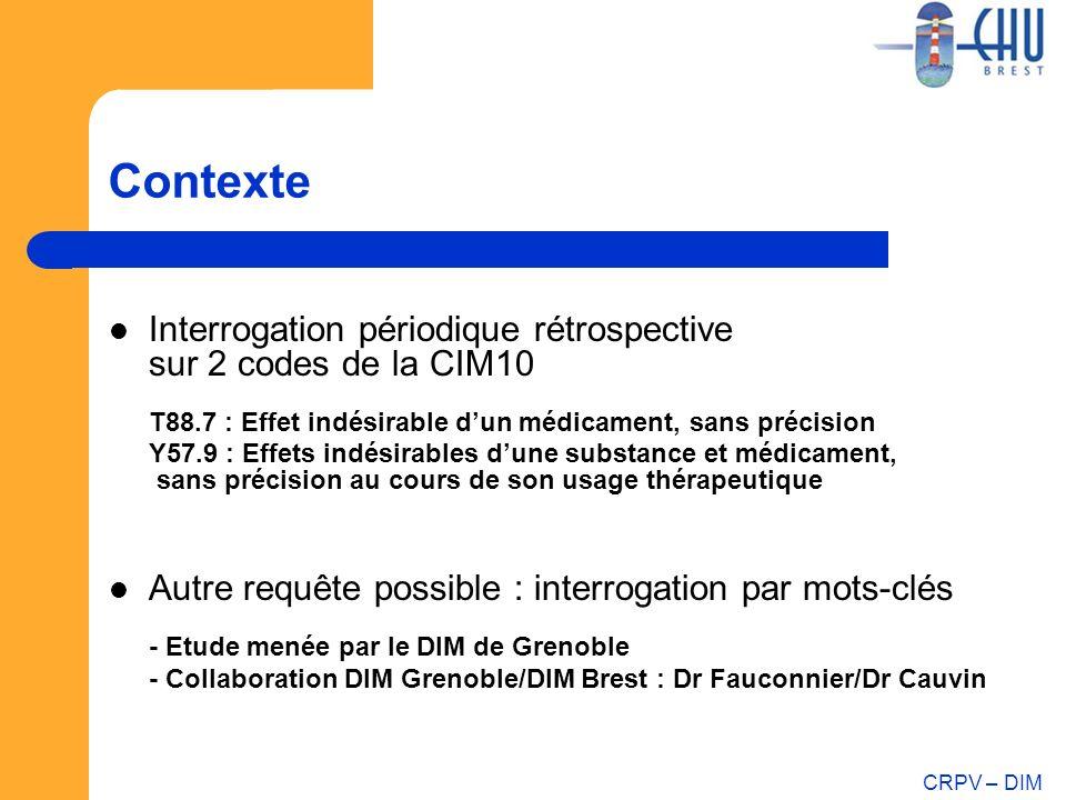 CRPV – DIM Contexte Interrogation périodique rétrospective sur 2 codes de la CIM10 T88.7 : Effet indésirable dun médicament, sans précision Y57.9 : Ef