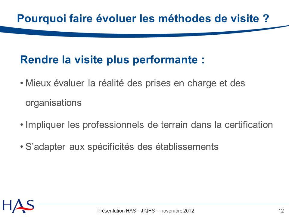 12Présentation HAS – JIQHS – novembre 2012 Pourquoi faire évoluer les méthodes de visite ? Rendre la visite plus performante : Mieux évaluer la réalit