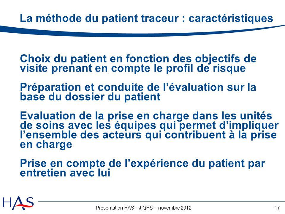 17Présentation HAS – JIQHS – novembre 2012 La méthode du patient traceur : caractéristiques Choix du patient en fonction des objectifs de visite prena