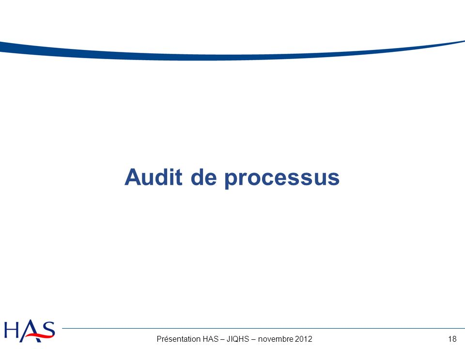 18Présentation HAS – JIQHS – novembre 2012 Audit de processus