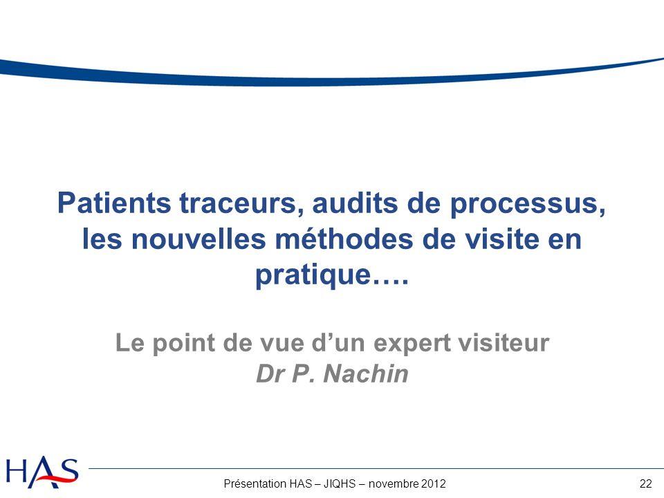 22Présentation HAS – JIQHS – novembre 2012 Patients traceurs, audits de processus, les nouvelles méthodes de visite en pratique…. Le point de vue dun