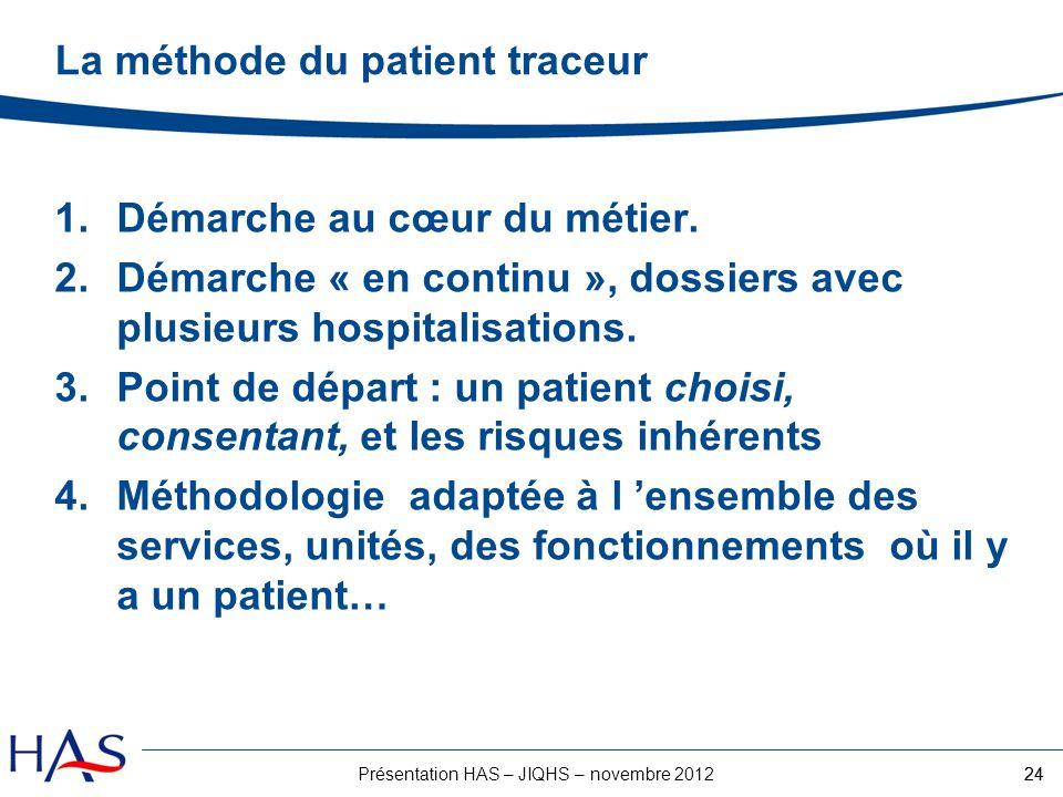 24Présentation HAS – JIQHS – novembre 2012 1.Démarche au cœur du métier. 2.Démarche « en continu », dossiers avec plusieurs hospitalisations. 3.Point