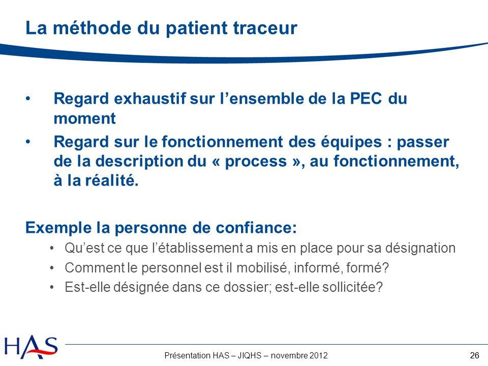 26Présentation HAS – JIQHS – novembre 2012 Regard exhaustif sur lensemble de la PEC du moment Regard sur le fonctionnement des équipes : passer de la
